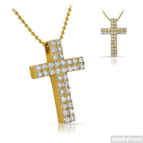 3.95 Carat Gold 2 Row CZ Block Cross