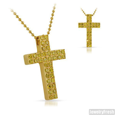 3.95 Carat Gold Canary CZ Block Cross