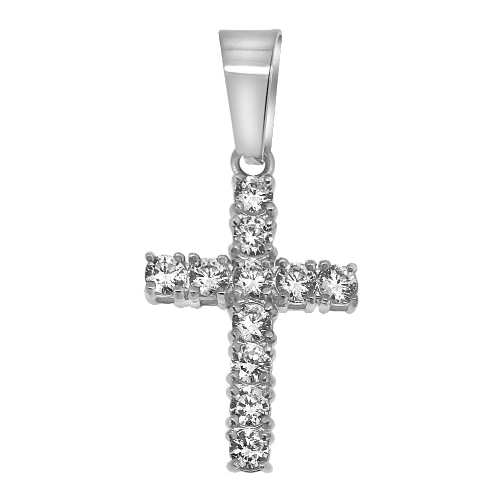 3mm Stainless Steel Mini CZ Diamond Cross