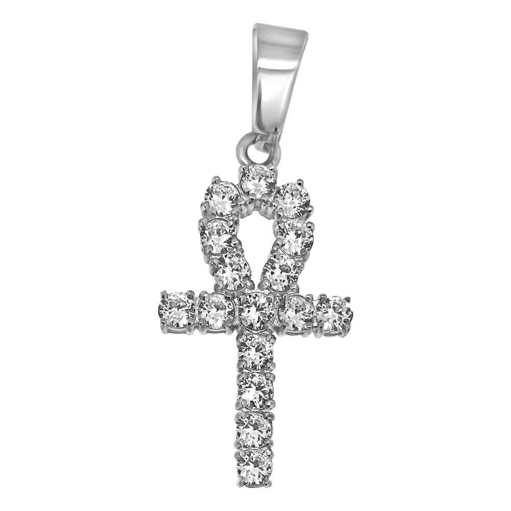 3mm Mini CZ Diamond Ankh Pendant Steel