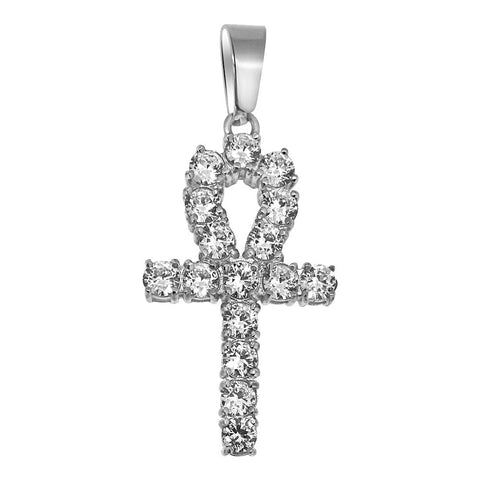 4mm Mini CZ Diamond Ankh Pendant Steel