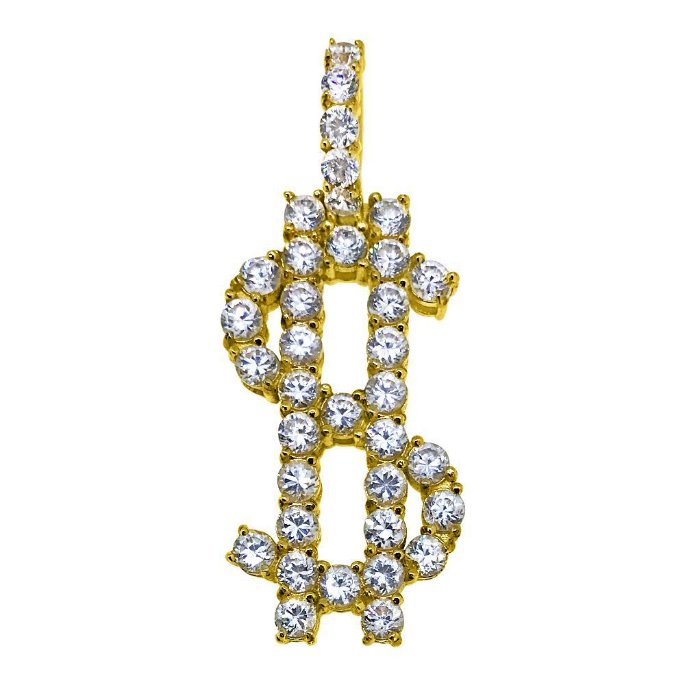 Mini Dollar Sign CZ Diamond Gold Pendant