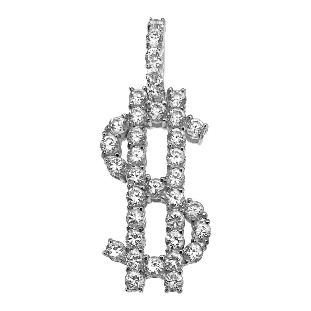 Mini Dollar Sign CZ Diamond Steel Pendant