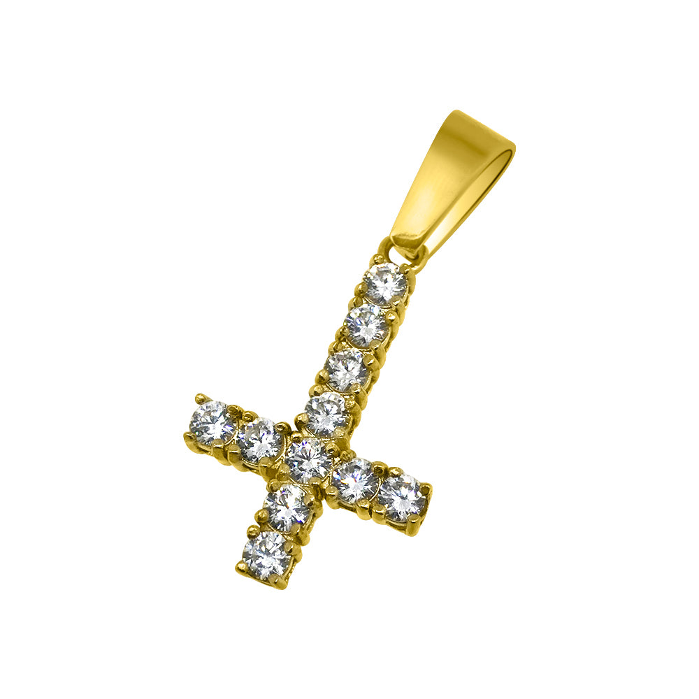 Gold 3mm CZ Upside Down Cross
