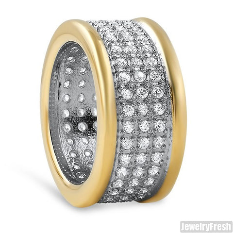 14K Gold IP 360 Iced Out Mens Ring