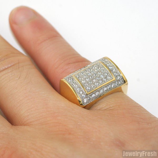 14K Gold IP CZ Square Mens Ring