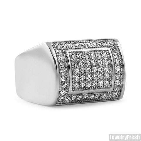 Luxury Square CZ Ring Stainless Steel