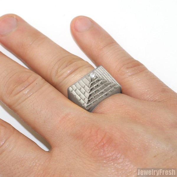 Stainless Steel Polished Pyramid Ring