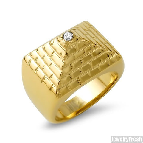 14K Gold IP Polished Pyramid Ring