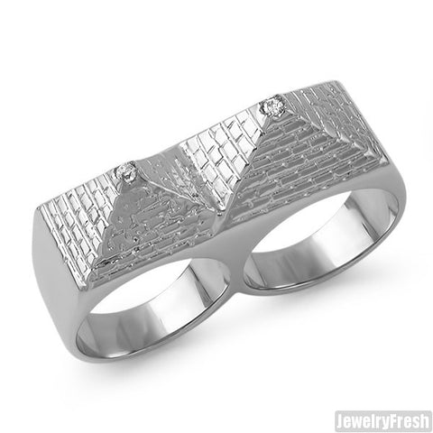 Stainless Steel Double Pyramid Ring