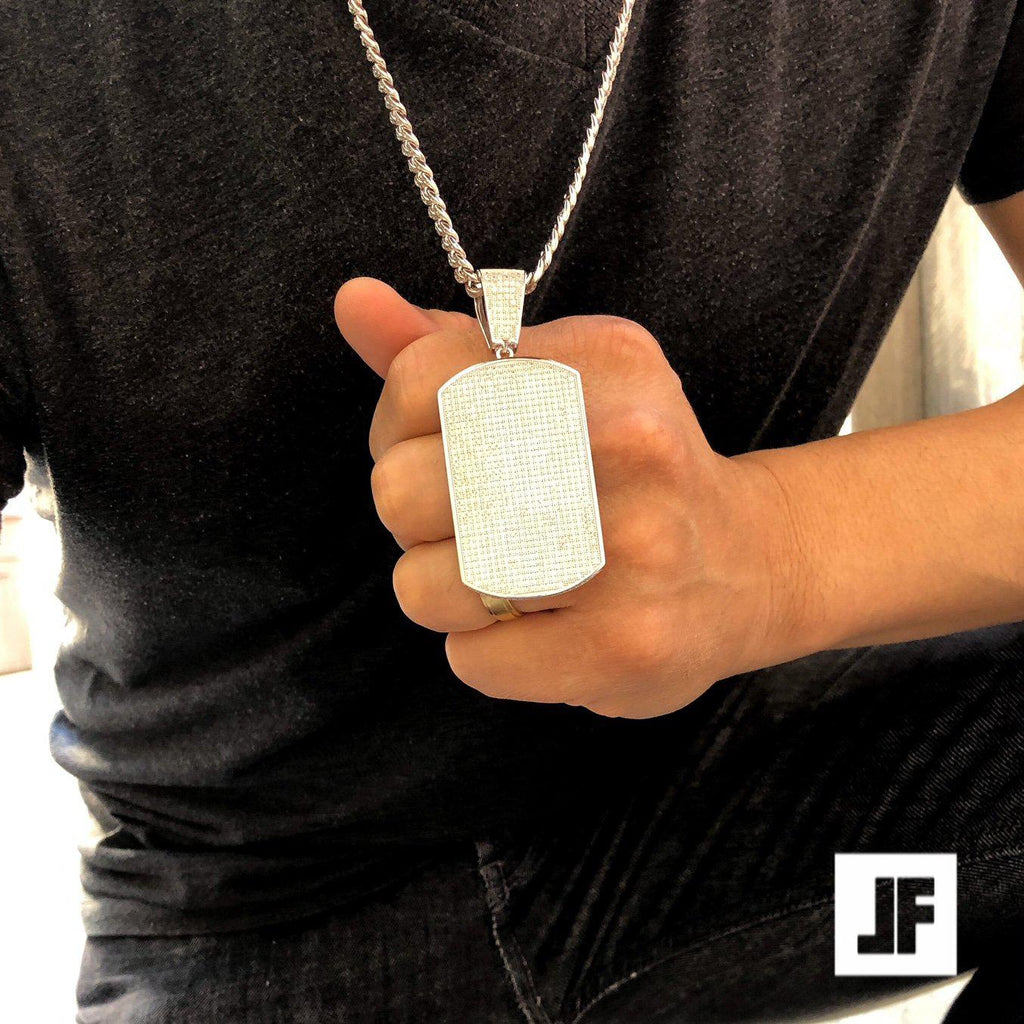 925 Silver Fully Iced Micropave Dogtag Pendant