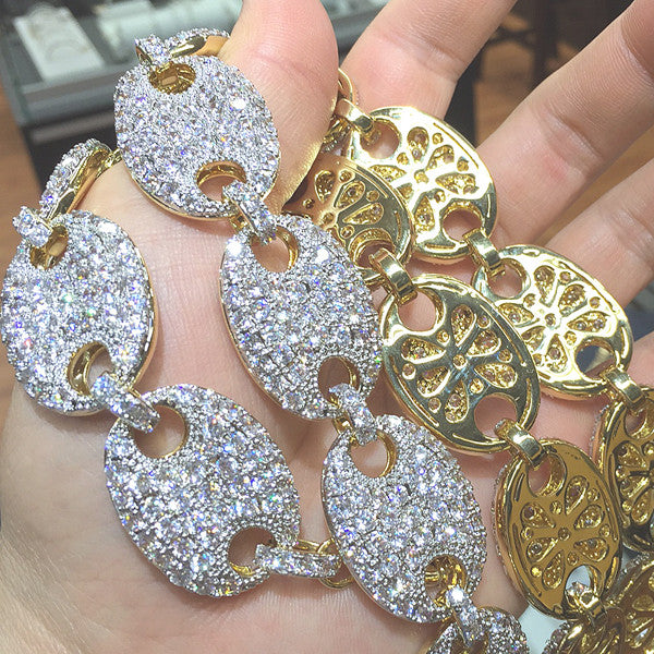 Gold Jumbo 25mm Iced Out Gucci Link Chain