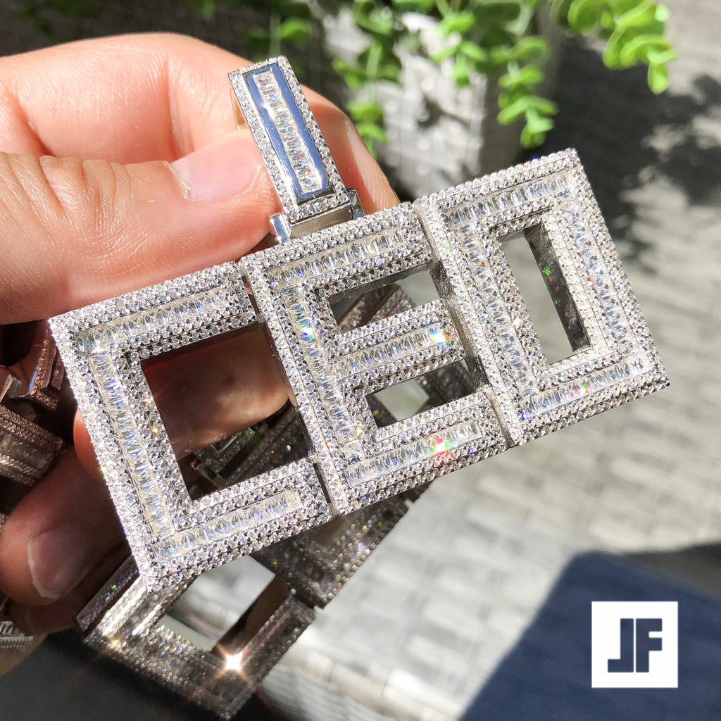 Custom Flooded Layered Baguette Block Letter Pendant