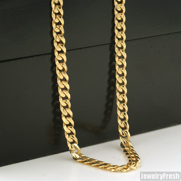 5mm 14K Gold IP Stainless Steel Cuban Necklace