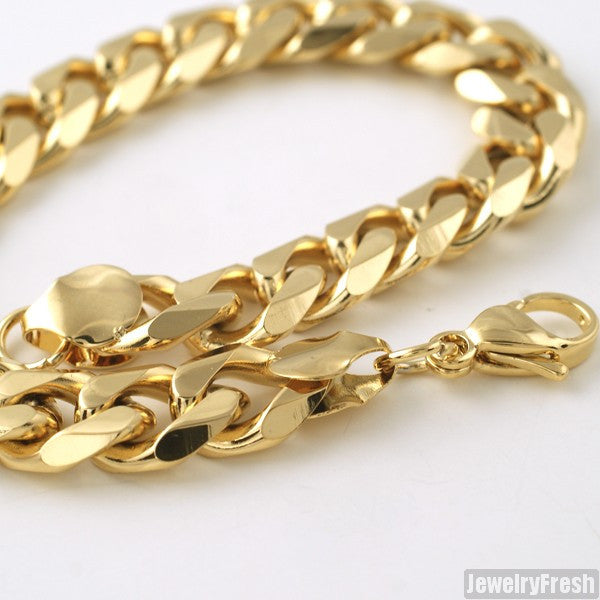 10mm 14K Gold IP Steel Miami Cuban Bracelet