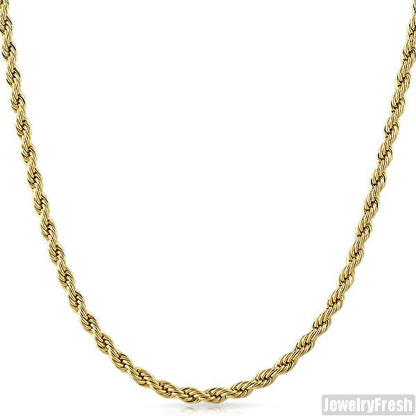 4mm 36 Inch Gold IP Stainless Steel Rope Necklace