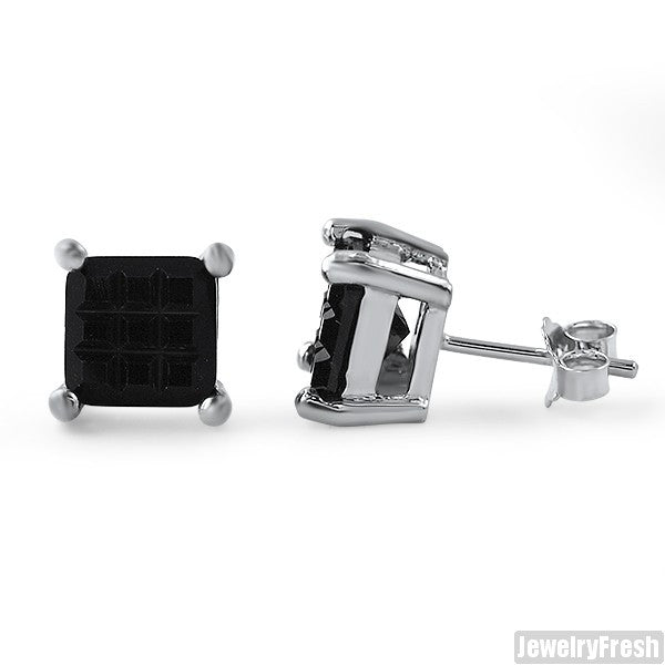 925 Silver Invisible Set Princess Cut Black Studs