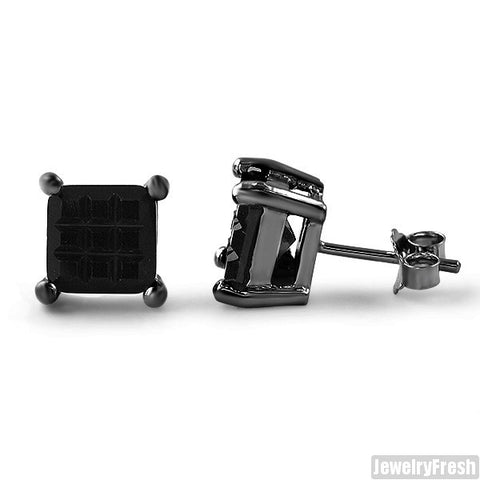 Dark Silver Invisible Set Princess Cut Black Studs