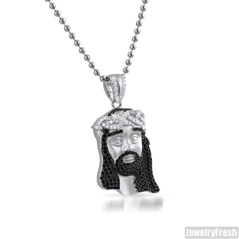 Black and White CZ Sterling Silver Frosted Mini Jesus Set