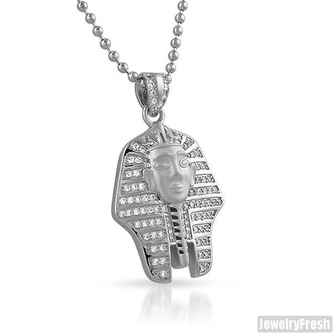 925 Sterling Silver CZ King Tut Pendant Chain Set