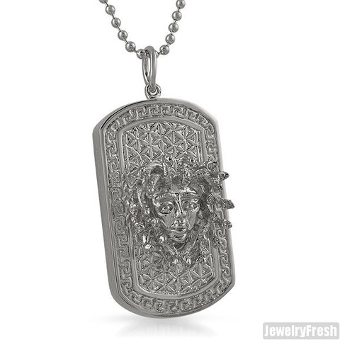 Rhodium Finish 3D Medusa Dogtag Pendant Necklace