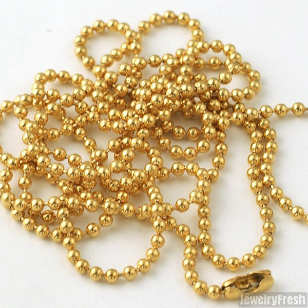 2mm 14K Gold IP Plated Bead Chain