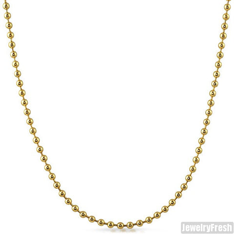 3mm 14K Gold IP Plated Steel Bead Chain
