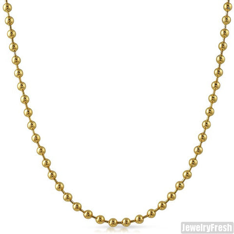 4mm 14K Gold IP Plated Steel Bead Chain
