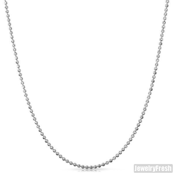 2mm Italian Sterling Silver Moon Cut Bead Chain