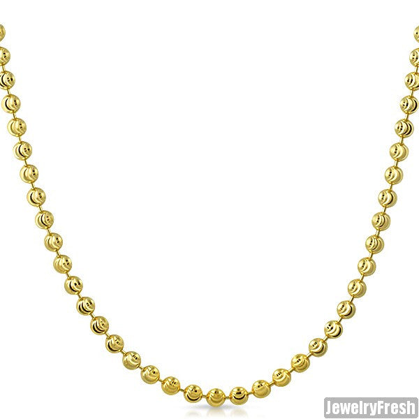 4mm 14k Gold Wrapped 925 Silver Moon Cut Bead Chain