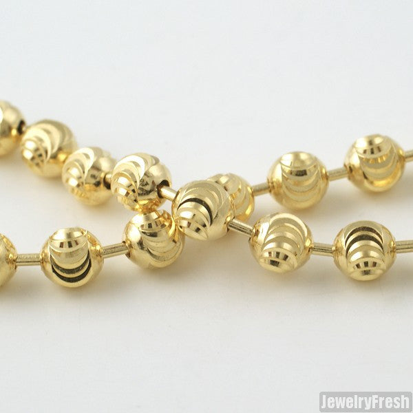 5mm 14k Gold Wrapped 925 Silver Moon Cut Bead Chain