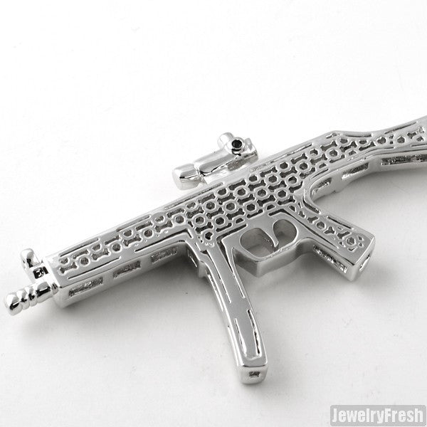 Platinum Tone Black CZ Machine Gun Pendant