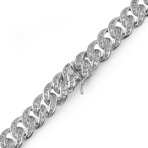 13mm White Gold Finish Iced Out Miami Cuban Bracelet