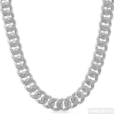 13mm 925 Sterling Silver Iced Cuban Chain