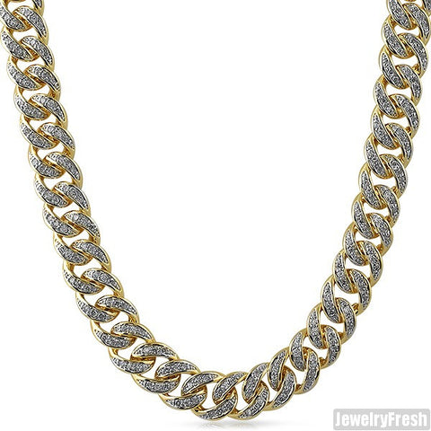 13mm Gold Finish Iced Out Miami Cuban Chain