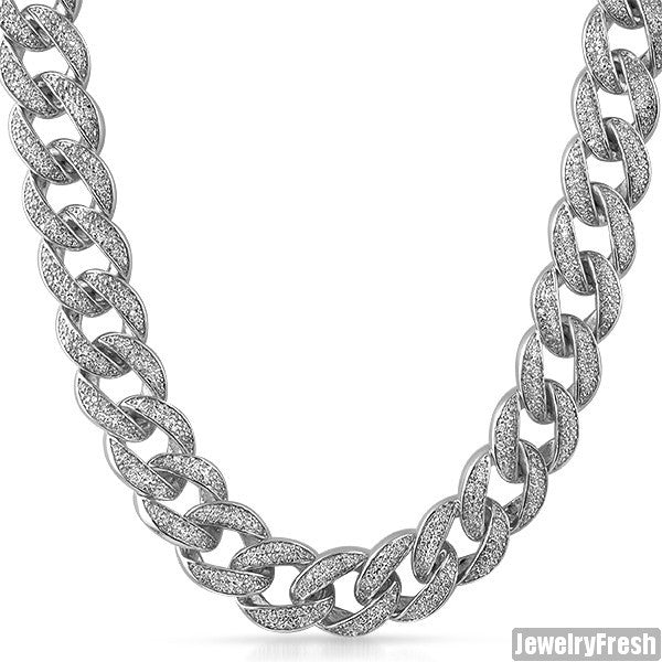 18mm Jumbo Iced Out Rhodium Cuban Chain