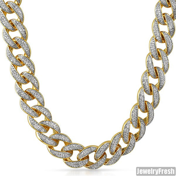 18mm Jumbo Iced Out Gold Miami Cuban Chain Jewelryfresh