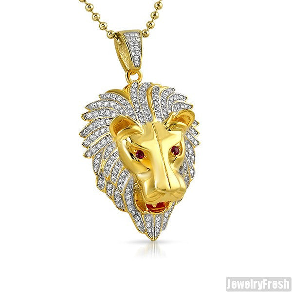 14K Gold Plated 925 Silver 3D Lion Pendant