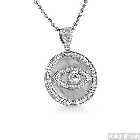 925 Silver Lab Diamond Evil Eye Pendant