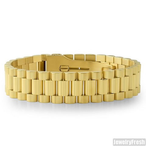 18K IP Gold Presidential Bracelet Steel
