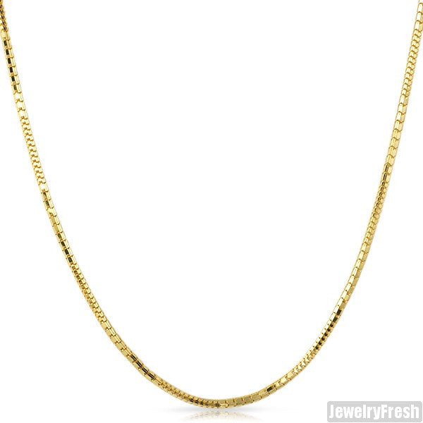 2mm 14k Gold Finish 925 Silver Shiny Box Snake Chain