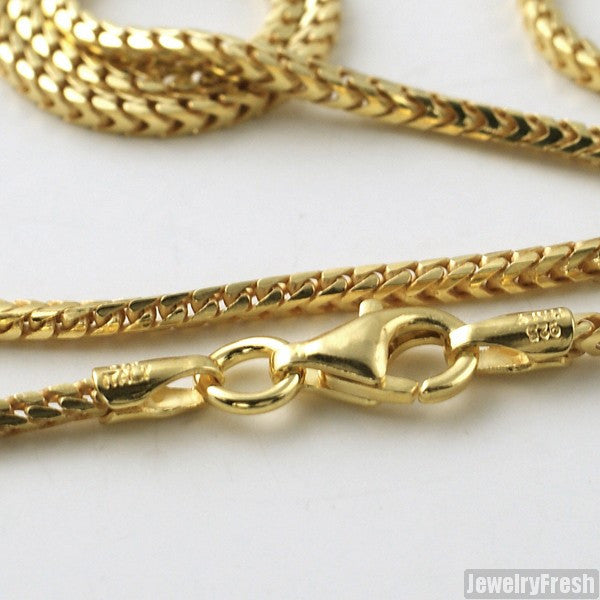 1.5mm 14k Gold Finish 925 Silver Franco Chain