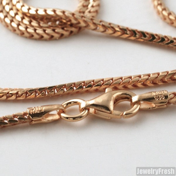 1.5mm 14k Rose Gold Finish 925 Silver Franco Chain