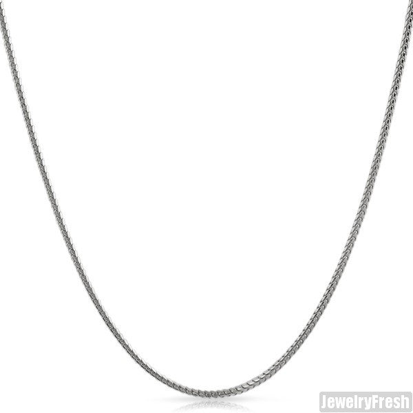 1.5mm White Gold Finish 925 Silver Franco Chain
