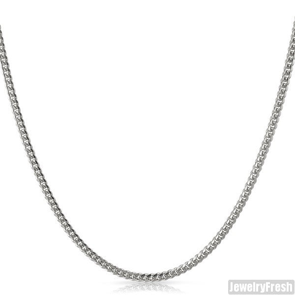 2mm White Gold Finish 925 Silver Miami Cuban Chain