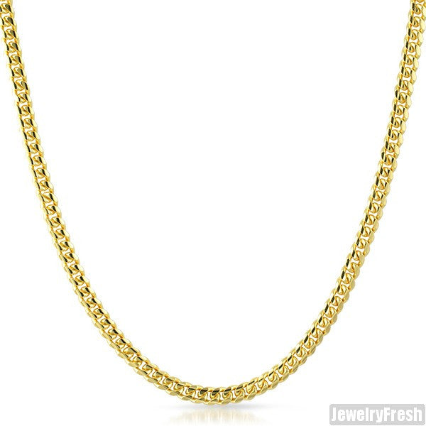 4mm 14k Gold Dipped 925 Silver Miami Cuban Chain