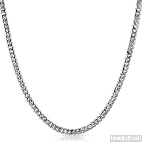 4mm White Gold Finish 925 Silver Miami Cuban Chain