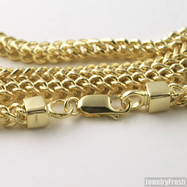 4mm 14k Gold Dipped 925 Silver Franco Chain