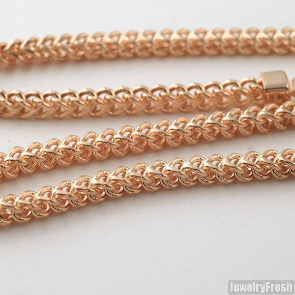 4mm 14k Rose Gold Dipped 925 Silver Franco Chain