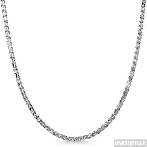 2.5mm Sterling Silver Hollow Franco Chain